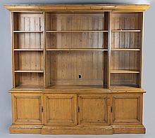 LARGE PINE BREAKFRONT BOOKCASE