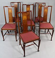 SET OF SIX EDWARDIAN WALNUT QUEEN ANNE STYLE CHAIRS WITH SHELL INLAY