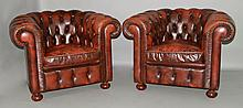 PAIR OF BROWN LEATHER CHESTERFIELD CLUB CHAIRS