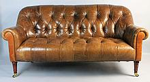 CARAMEL BROWN LEATHER CHESTERFIELD SETTEE