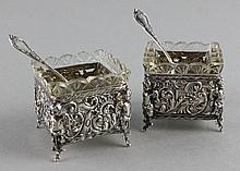 PAIR OF GERMAN SILVER OPEN SALTS WITH GLASS LINERS