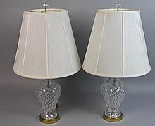 PAIR OF WATERFORD CRYSTAL TABLE LAMPS