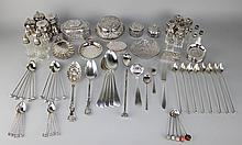GROUP OF MISCELLANEOUS SILVER AND PLATED BOXES AND TABLEWARES
