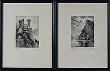 ALFRED HEBER HUTTY (AMERICAN, 1877-1954) A PAIR OF ETCHINGS Etching: 4 1/2 x 3 1/4 in.