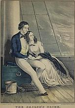 NATHANIEL CURRIER (AMERICAN, 1813-1888) THE SAILOR'S BRIDE, 1849 Lithograph: 12 x 8 in. (sight)