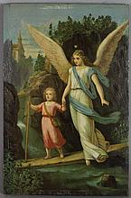 AMERICAN SCHOOL (19TH/20TH CENTURY) GUARDIAN ANGEL Oil on panel: 8 x 5 1/4 in.