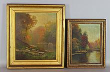 GROUP OF THREE FRAMED LANDSCAPE PAINTINGS along with FOLK ART DECORATED FRAME Oil on board: 14 1/2 x 12 1/2 in.; 10 1/4 x 12 in.; 1...