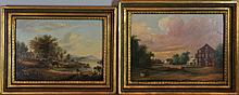 WB (19TH CENTURY) TWO COUNTRY LANDSCAPES Oil on board: 11 x 15 in. and 9 1/2 x 13 1/2 in.