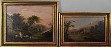 (19TH CENTURY) TWO LANDSCAPES WITH RUINS Oil on board: 16 x 19 in. and 11 x 17 in.