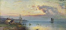 P. WEBER (AMERICAN, 19TH CENTURY) SUNSET Oil on canvas: 10 x 20 in.