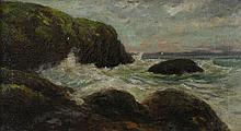 W. FISHER (AMERICAN, 19TH CENTURY) MAINE COAST, 1874 Oil on canvas: 10 x 18 in.