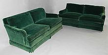 PAIR OF BAKER DARK GREEN VELVET UPHOLSTERED LOVESEATS