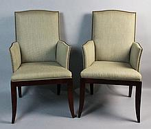 PAIR OF CONTEMPORARY ARMCHAIRS WITH STUDDED UPHOLSTERY