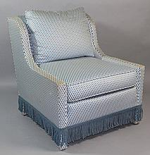 CONTEMPORARY CLUB CHAIR UPHOLSTERED IN BLUE AND IVORY FISH TAIL DESIGN AND BULLION FRINGE