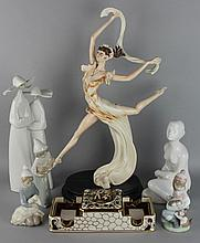 COLLECTION OF FOUR LLADRO FIGURINES ALONG WITH A ROYAL DUX PORCELAIN FIGURE OF A GIRL, AND A. SANTINI DANCING FIGURE, AND A CAPODIMO...