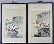 UNKNOWN (CHINESE) THREE CHINESE LANDSCAPES Ink and color on paper with silk mat: each 16 x 11 in.