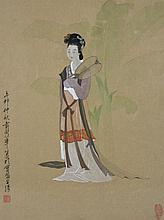 UNKNOWN (CHINESE) WOMAN WITH FAN, 1951 Watercolor on paper: 16 x 12 in.
