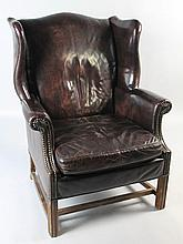 CHIPPENDALE STYLE LEATHER WING CHAIR