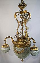 GILT METAL AND GLASS CHANDELIER