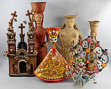 GROUP OF LARGE MEXICAN CERAMIC AND PAPIER MACHE FIGURES