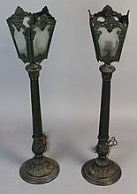 PAIR OF GREENISH-BLACK METAL TALL COLUMNAR TABLE LAMPS, ELECTRIFIED
