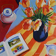 JOSEPH TRANCHINA A PAIR OF PAINTINGS; STUDIO STILL LIFE 'OPEN TULIPS' AND TERACE SYILL LIFE #2 Oil on canvas: 25 1/2 x 25 1/2 in. an...