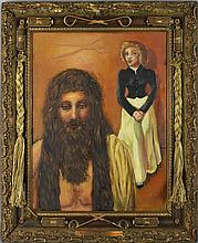 PATRICIA HELSING (AMERICAN, 1946-2008) SAMSON AND THE LITTLE WOMAN, 1995 Mixed media painting and assemblage: 20 x 15 in.