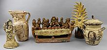 MEXICAN CERAMIC MODEL OF THE LAST SUPPER AND OTHER CERAMIC ITEMS