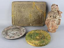 TWO GIPSFORMEREI REPRODUCTION MEXICAN RELIEFS AND TWO OTHER RELATED PIECES