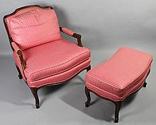 LOUIS XV STYLE FAUTEUIL WITH FITTED MATCHING OTTOMAN