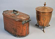 AN ARTS AND CRAFTS COPPER AND BRASS VESSEL TOGETHER WITH A LARGE COPPER POT, BOTH WITH FITTED LIDS