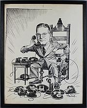 GIB CROCKETT (AMERICAN, 1912) POLITICAL FIGURE AT THE PHONE and OTHER ITEMS Ink on paper: 16 1/4 x 13 1/4 in.