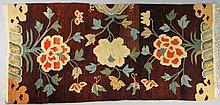 TWO TIBETAN FLORAL WOOL RUGS