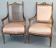 TWO SIMILAR LOUIS XVI STYLE FRUITWOOD OPEN ARM CHAIRS