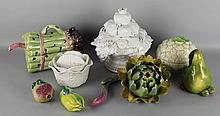 EIGHT CERAMIC FRUITS AND VEGETABLES