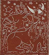 ANDRE DERAIN (FRENCH, 1880-1964) ZODIAC Wood engraving; 7 1/4 x 6 1/2 in. (sight)