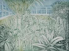 C J SANDERSON (20TH CENTURY) TROPICAL HOUSE AT KEW, 1979 Aquatint: 17 1/2 x 24 in.