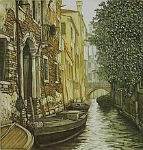 UNKNOWN ARTIST UNTITLED (CANAL SCENE) Color etching: 6 1/2 x 6 1/2 in.