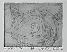 DOROTHY ELLIS (AMERICAN, 20TH CENTURY) A SNAIL'S DAY and VORTEX Two Etchings: 3 x 3 3/4 in.; 3 3/4 x 3 in.