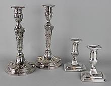 PAIR OF BARKER ELLIS SILVERPLATED CANDLESTICKS