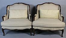 PAIR OF LOUIS XV STYLE OVERSIZED ARMCHAIRS