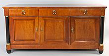 BAKER FRENCH EMPIRE STYLE CHERRY SIDEBOARD WITH EBONIZED COLUMNS