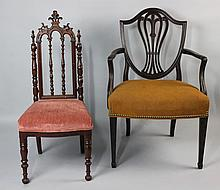 GOTHIC REVIVAL STYLE MAHOGANY CHILD'S SIDE CHAIR AND A GEORGE III STYLE CARVED MAHOGANY ARMCHAIR