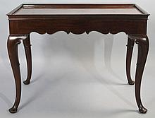 QUEEN ANNE STYLE CARVED MAHOGANY TEA TABLE