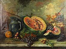 HENNERT STILL LIFE WITH FRUIT Oil on canvas: 30 x 40 in.