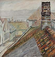 ROOFTOPS Oil on canvas: 22 x 21 in. (sight)
