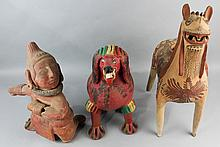 THREE MEXICAN CERAMIC FIGURES