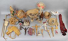 ASSORTED COLLECTION OF STRAW AND NATURAL FIBER BASKETS AND FOLK ART FIGURES