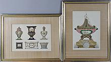 A PAIR OF SEVRES COLORED ENGRAVINGS 12 1/2 x 9 in. and 9 x 12 1/2 in.