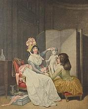 J.-F. CAZENAVE AFTER LOUIS-LEOPOLD BOILLY (FRENCH, 18TH/19TH CENTURY) (FRENCH, 1761-1885) L'AMOUR COURONNE Colored engraving: 29 X 2...